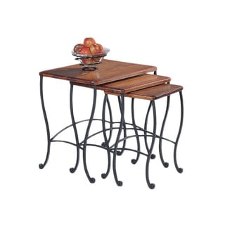 Rustic Oak 3-piece Nesting Table Set