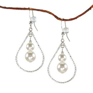 Jewelry by Dawn White Faux Pearl Sterling Silver Textured Teardrop Earrings