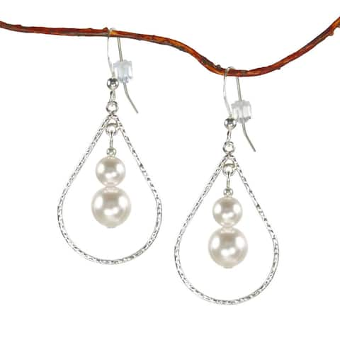 Handmade Jewelry by Dawn White Faux Pearl Sterling Silver Textured Teardrop Earrings (USA)