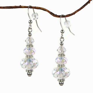Handmade Jewelry by Dawn Aurora Borealis Crystal Rondelle Dangle Earrings (USA)