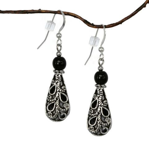 Handmade Jewelry by Dawn Antiqued Puffed Teardrop And Black Glass Dangle Earrings (USA)
