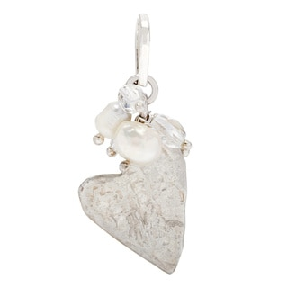 .925 Sterling Silver Natural Freshwater Pearl and Crystal 'Hearts Of Love' Pendant (2-3 mm)