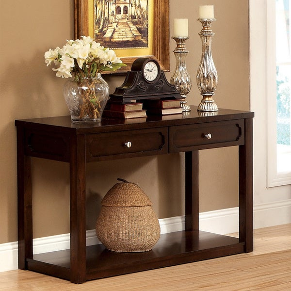 Furniture Of America Brown Cherry Baltran 2 Drawer Console Table With  Display Shelf