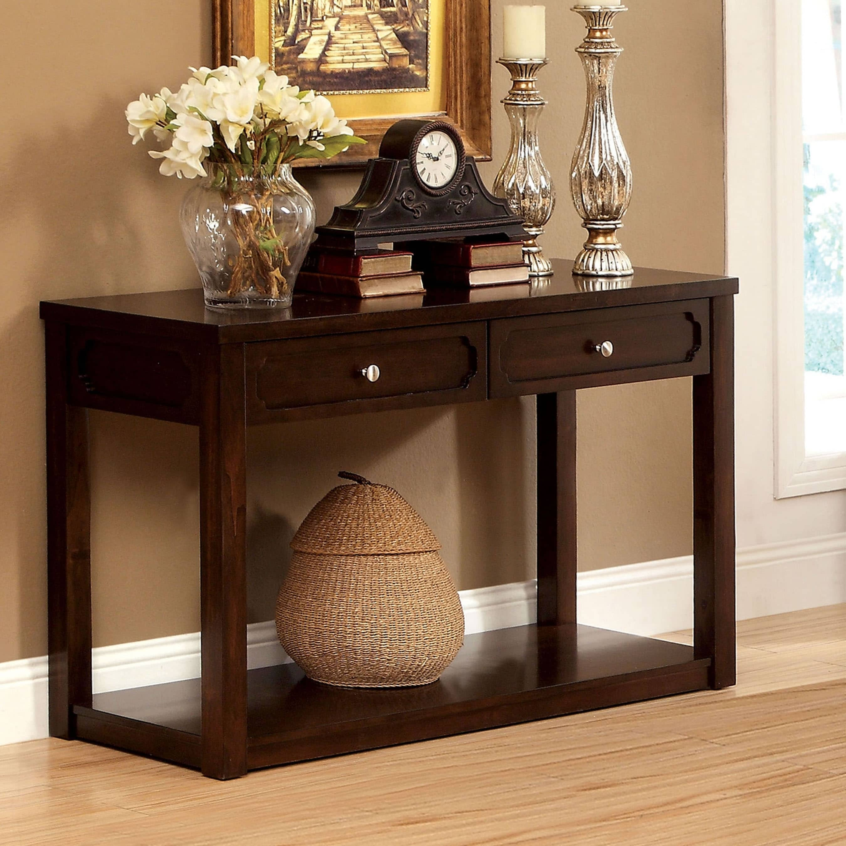 Furniture of America Brown Cherry Baltran 2-drawer Consol...