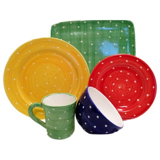 Hand-painted 'Pallini' Polka Dot 5-piece Place Setting Bundle (Italy)