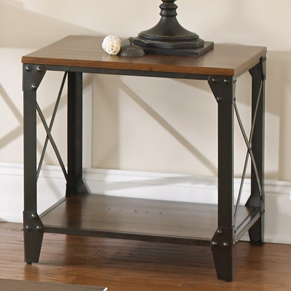 Windham Solid Wood And Iron Rustic End Table By Greyson Living