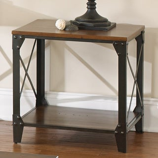 Carbon Loft Fischer Solid Wood and Iron Rustic End Table