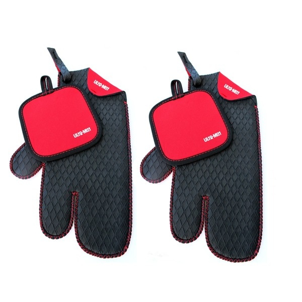 Ulta Mitt 3 Finger Kitchen Glove With Red Hot Pad (Set Of 2