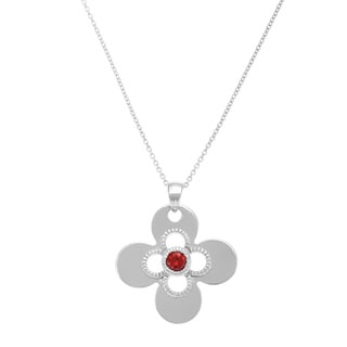 Sterling Silver Garnet Lucky Charm Necklace