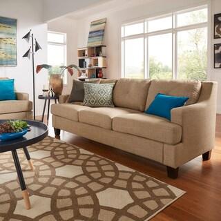 Elston Linen Tufted Sloped Track Sofa iNSPIRE Q Modern (Option: Light Brown)