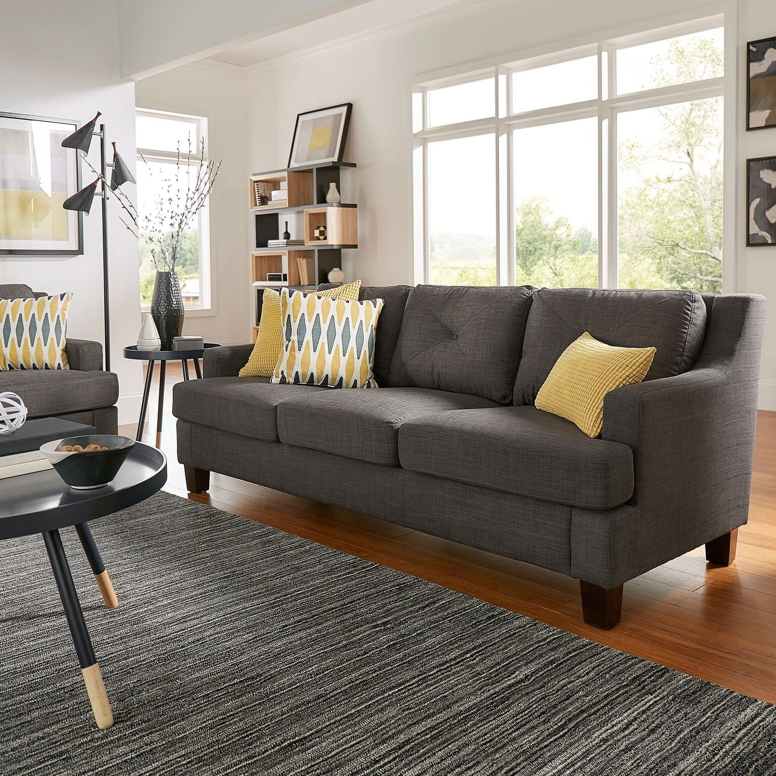 Marvelous Elston Linen Tufted Sloped Track Sofa INSPIRE Q Modern (Option: Dark Gray  Linen)