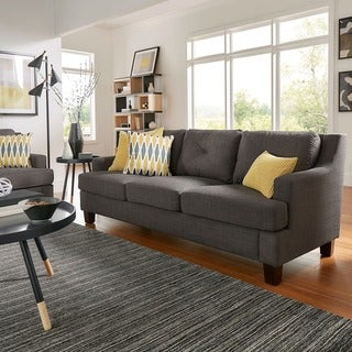Elston Linen Tufted Sloped Track Sofa iNSPIRE Q Modern