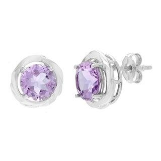 Round Gemstone Freeform Stud Earrings