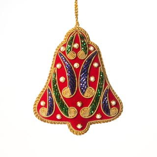 Handcrafted Zardozi Christmas Bell Ornament  , Handmade in India