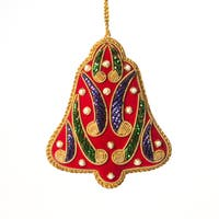 Handcrafted Zardozi Christmas Bell Ornament  , Handmade in India