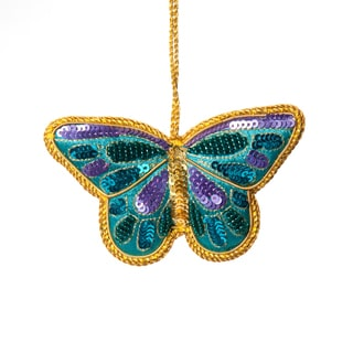 Hand-embroidered Zardozi Multi-colored Butterfly Ornament (India)