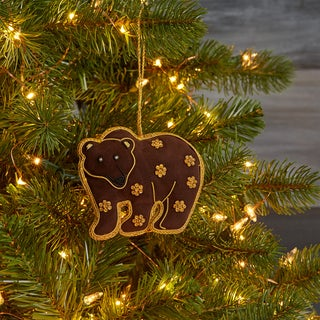 Hand-crafted Brown Bear Zardozi Embroidered Ornament (India)