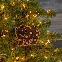 Handmade Brown Bear Zardozi Embroidered Ornament (India)