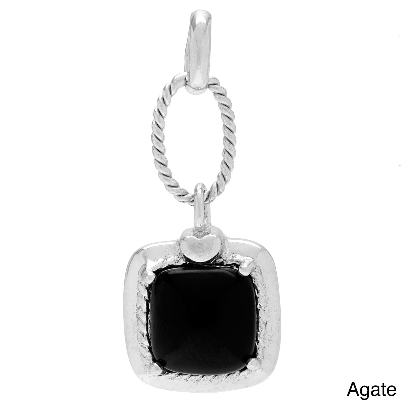 Kabella Jewelry Sterling Silver Square Amethyst, Agate Da...