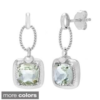 Sterling Silver Square Amethyst, Agate Dangle Rope Earrings