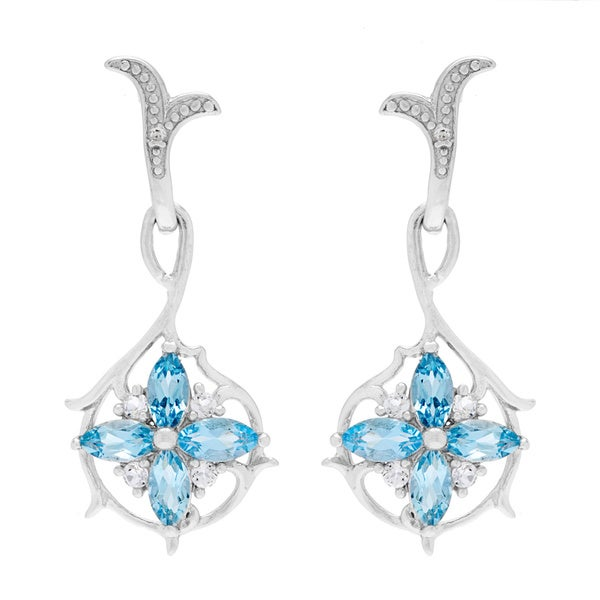 a1d55b8a5 Kabella Sterling Silver Marquis-cut Topaz and Cubic Zirconia Flower Dangle  Earrings
