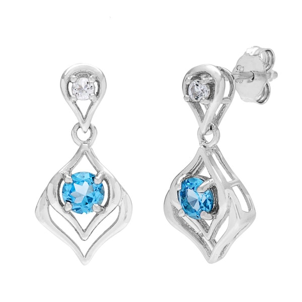 Kabella Sterling Silver Round Topaz and Cubic Zirconia Leaf Dangle Earrings