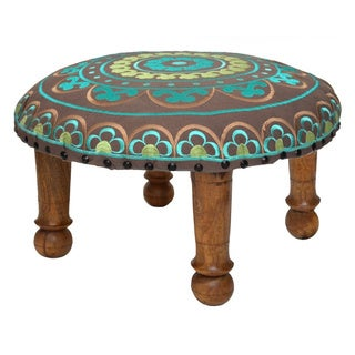 Hand-embroidered Teal Floral Footstool (India)