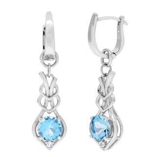 Kabella Sterling Silver Round Topaz and Cubic Zirconia Dangle Earrings