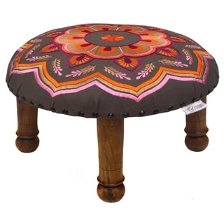 Hand-embroidered Orange/ Pink Floral Footstool (India)