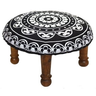 Hand-embroidered White Floral Footstool (India)