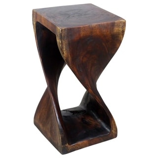 Hand-carved 23 x 12 Acacia Wood Twist Stool (Thailand)