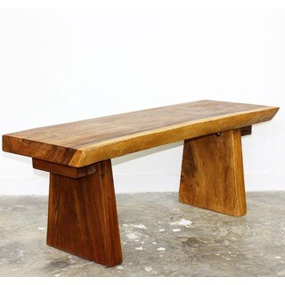 Handmade 48 x 17 - 20 x 18 Golden Oak Oil Acacia Natural Edge Wood Bench (Thailand)