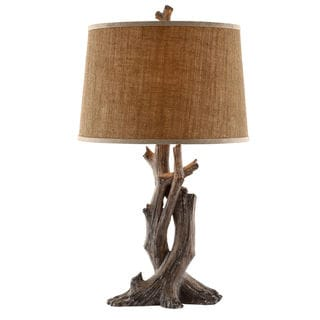 Pine Canopy Delta Resin Natural Wood Table Lamp