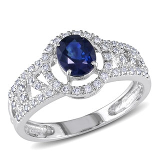 Miadora 14k White Gold Sapphire and 1/5ct TDW Diamond Ring (G-H, I1-I2)