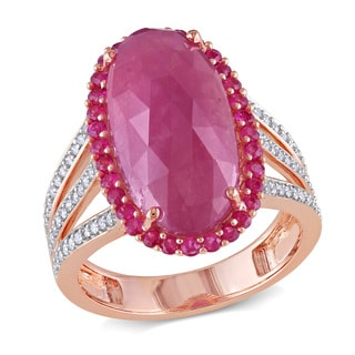 Miadora Signature Collection 14k Rose Gold Pink Sapphire and 1/4ct TDW Diamond Ring (G-H, SI1-SI2)