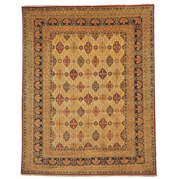 Safavieh Hand-knotted Lavar Ivory/ Navy Wool Rug - 10' x 14'