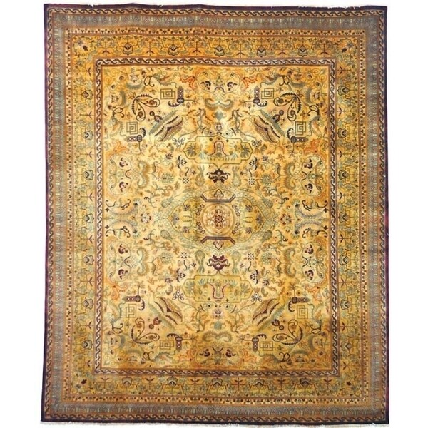 Safavieh Hand-knotted Lavar Creme/ Gold Wool Rug - 9' x 12'