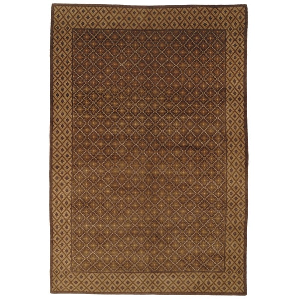 Safavieh Hand-knotted Nepalese Brown Wool/ Silk Area Rug - 9' x 12'