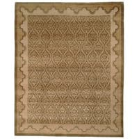 Safavieh Hand-knotted Nepalese Green/ Brown Wool/ Silk Rug - 9' x 12'