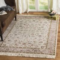 Safavieh Hand-knotted Tabriz Floral Beige Wool/ Silk Rug - 9' x 12'