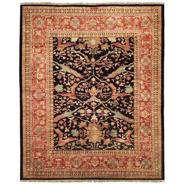 Safavieh Hand-knotted Peshawar Vegetable Dye Black/ Red Wool Rug - 8' x 10'