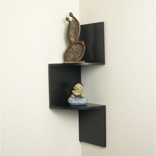 Laminated Corner Shelf in Walnut Finish