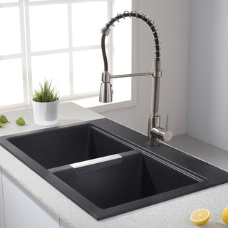 KRAUS 33-inch Dual Mount 50/50 Double Bowl Granite Kitchen Sink w/ Topmount and Undermount Installation