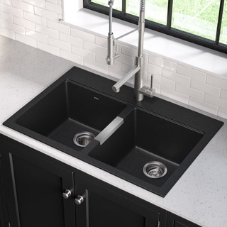 Kraus 33 1/2 inch Dual Mount 50/50 Double Bowl Black Onyx Granite Kitchen Sink