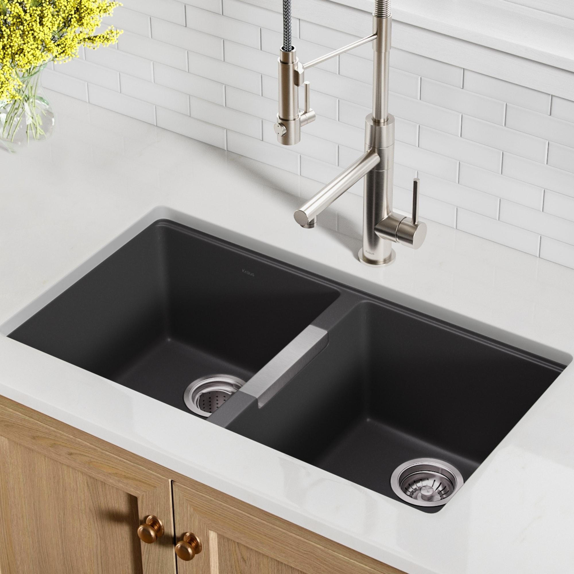 Kraus KGU-434B Undermount 33 inch 2-Bowl Granite Kitchen Sink