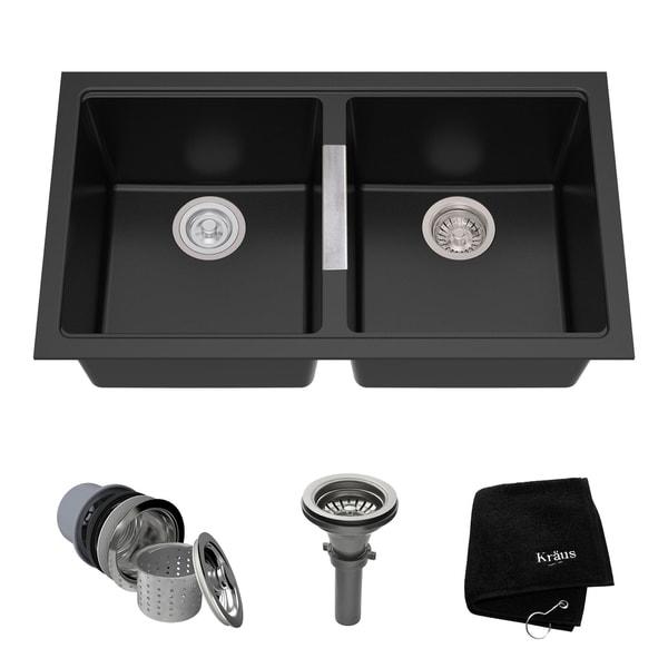 Kraus KGU-434B Undermount 33-in 50/50 2-Bowl Granite Kitchen Sink, Black Onyx, Strainers, Towel