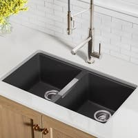Kraus KGU-434B Undermount 33-in 50/50 2-Bowl Granite Kitchen Sink, Black Onyx, Strainers, Towel