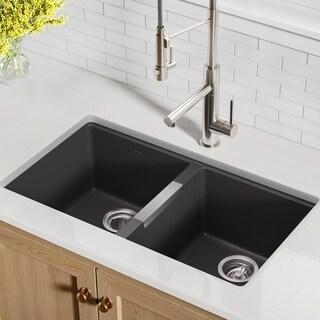 Kraus KGU-434B Undermount 33-inch 50/50 Double Bowl Granite Kitchen Sink in Black Onyx