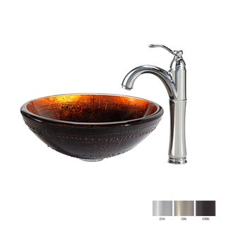 KRAUS Prometheus Glass Vessel Sink in Brown with Riviera Faucet in Chrome