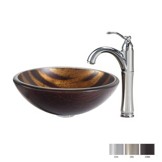 KRAUS Bastet Glass Vessel Sink in Brown with Riviera Faucet in Chrome